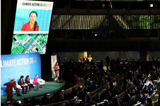 Greta Thunberg s'exprime à la tribune de l'ONU lors du sommet pour le climat du 23 septembre 2019.